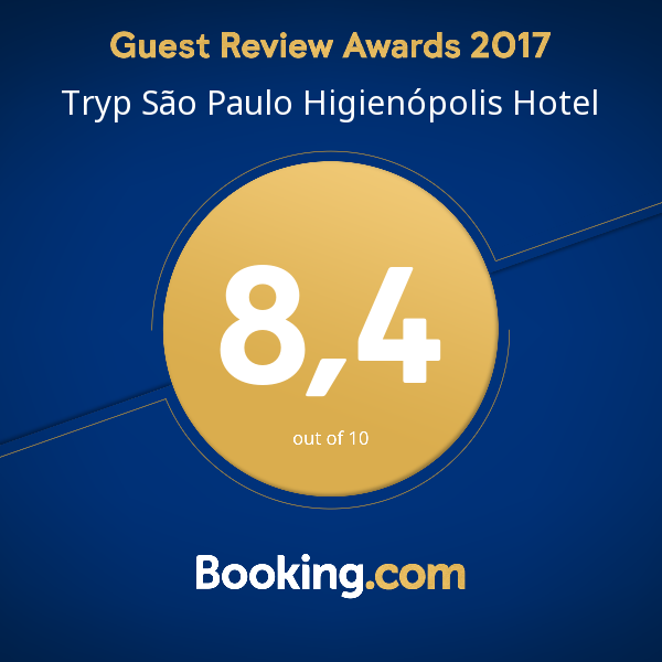 """TRYP São Paulo Higienópolis recebe """"Guest Review Award"""