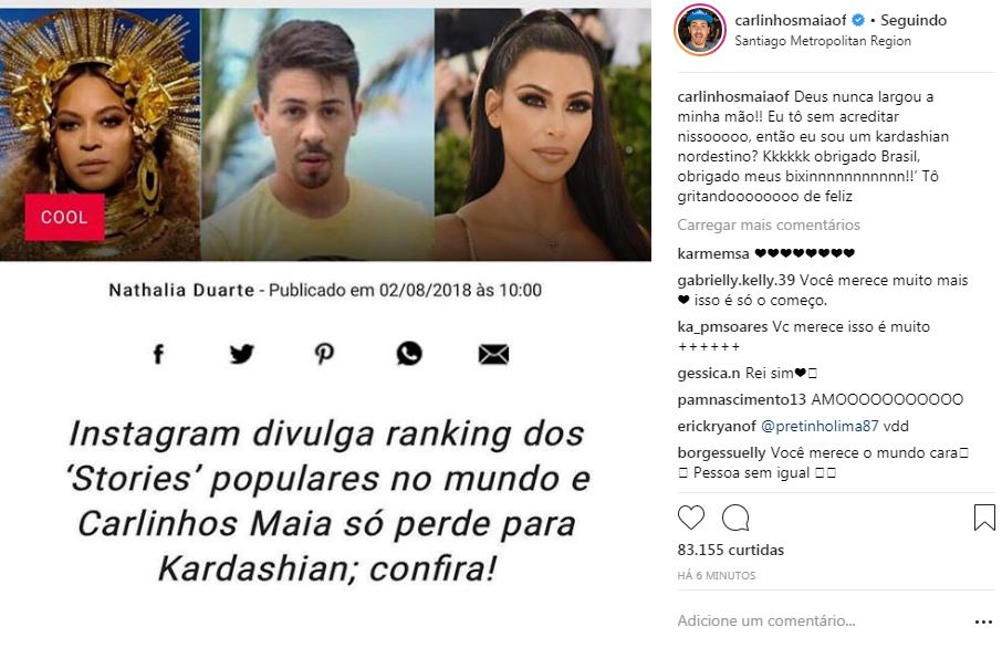 Carlinhos Maia só perde para KIm Kardashian nos Stories