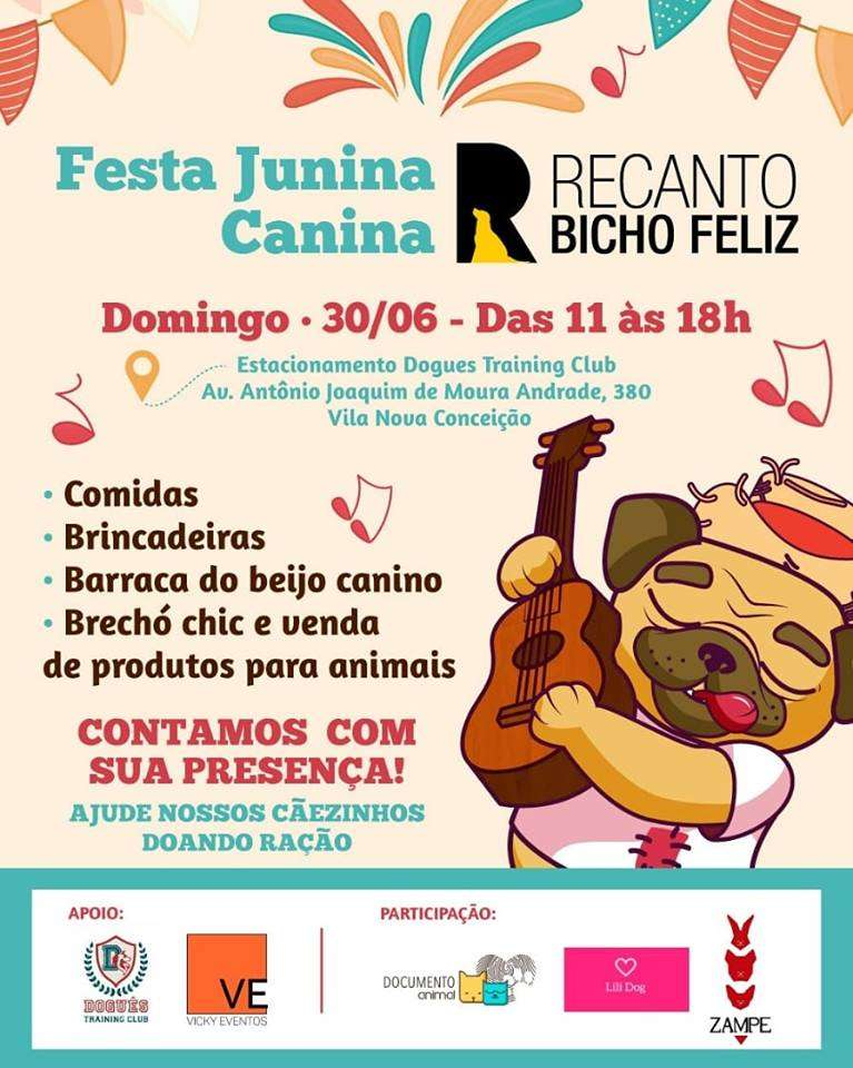 Festa junina Canina Recanto Bicho Feliz neste domingo
