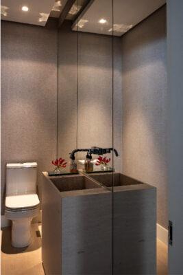 Lavabo e Banheiro pequenos ganham destaque na decoração