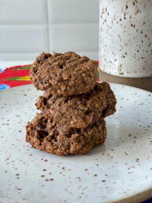 Aos veganos receita de cookie com gotas de chocolate.