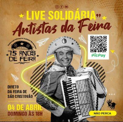 """Live Solidária """"Artistas da Feira"""" será neste domingo"""