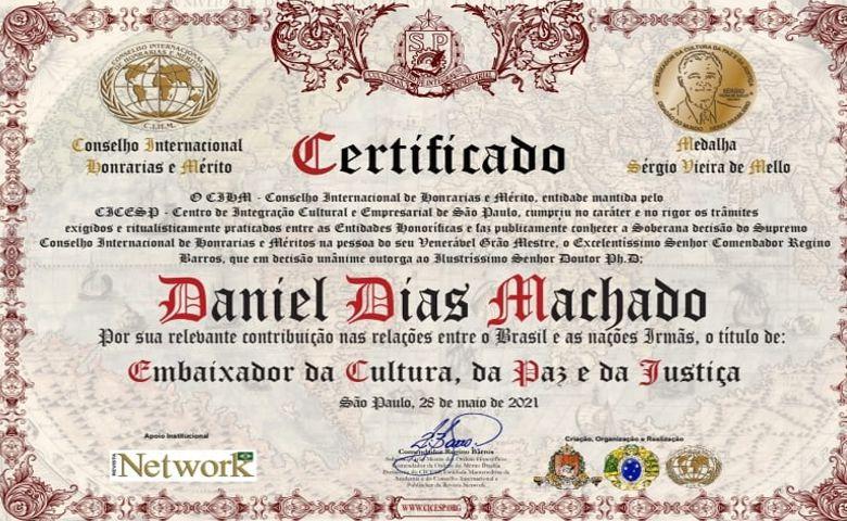 Daniel Dias Machado é nomeado embaixador
